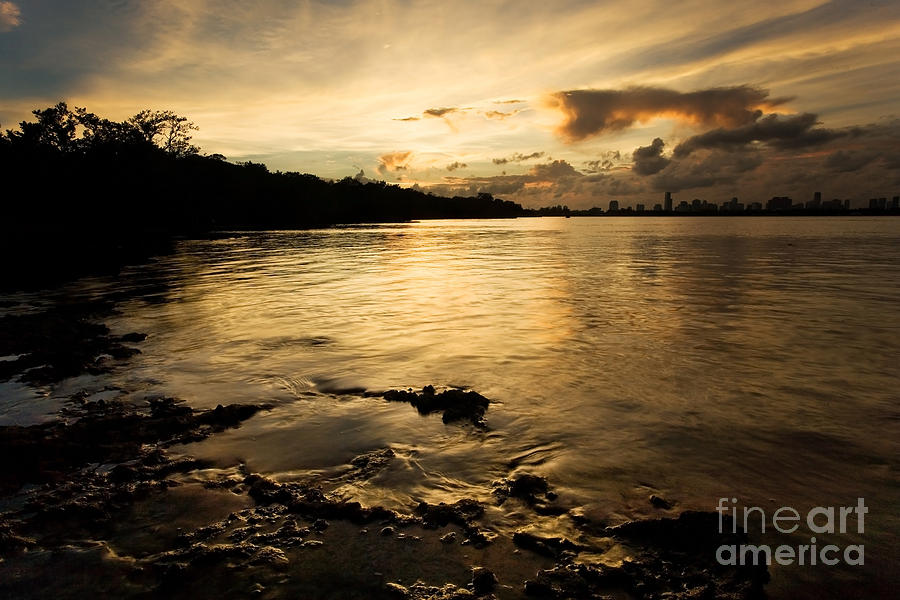 Key Biscayne Photograph - Sunset With Miami In The Distance by Matt Tilghman
