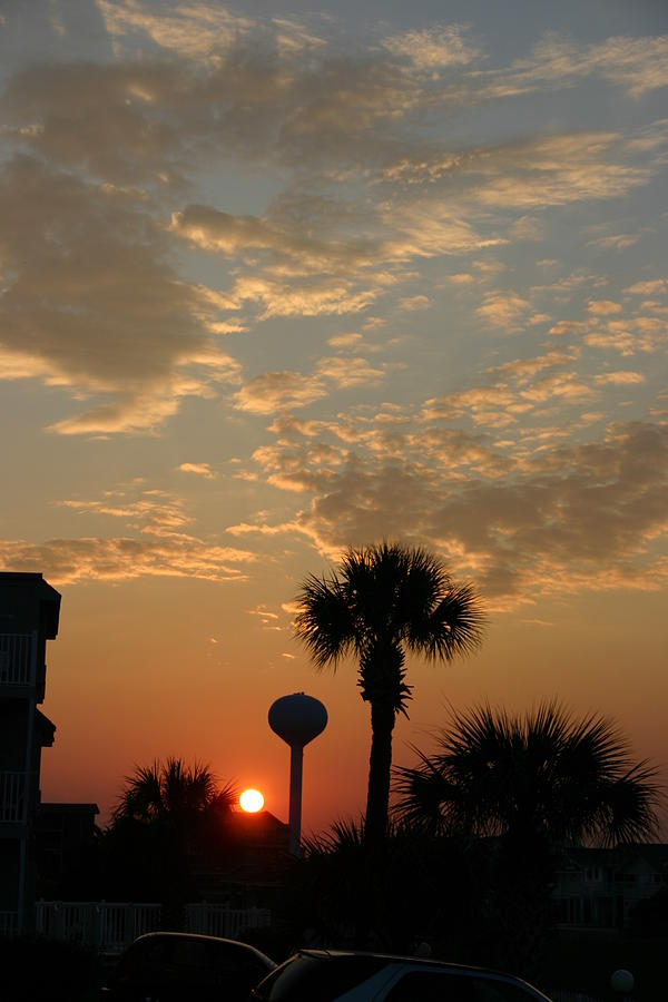 Clouds Photograph - Sunset with Palms by Beebe  Barksdale-Bruner