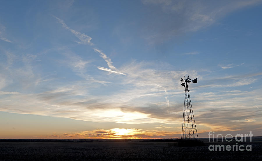 Prairie Sunset Photograph - Sunset With Windmill by Art Whitton