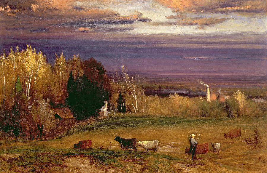 Cows Painting - Sunshine After Storm Or Sunset by George Snr Inness