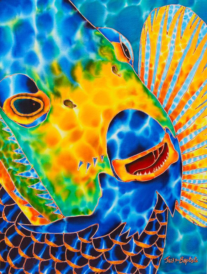 Tropical Wildlife Painting - Sunshine Angelfish by Daniel Jean-Baptiste