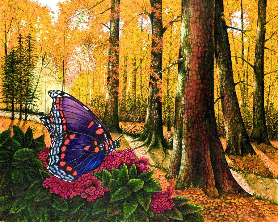 Red Spotted Purple Painting - Sunshine Traveler-red Spotted Purple by Michael Frank