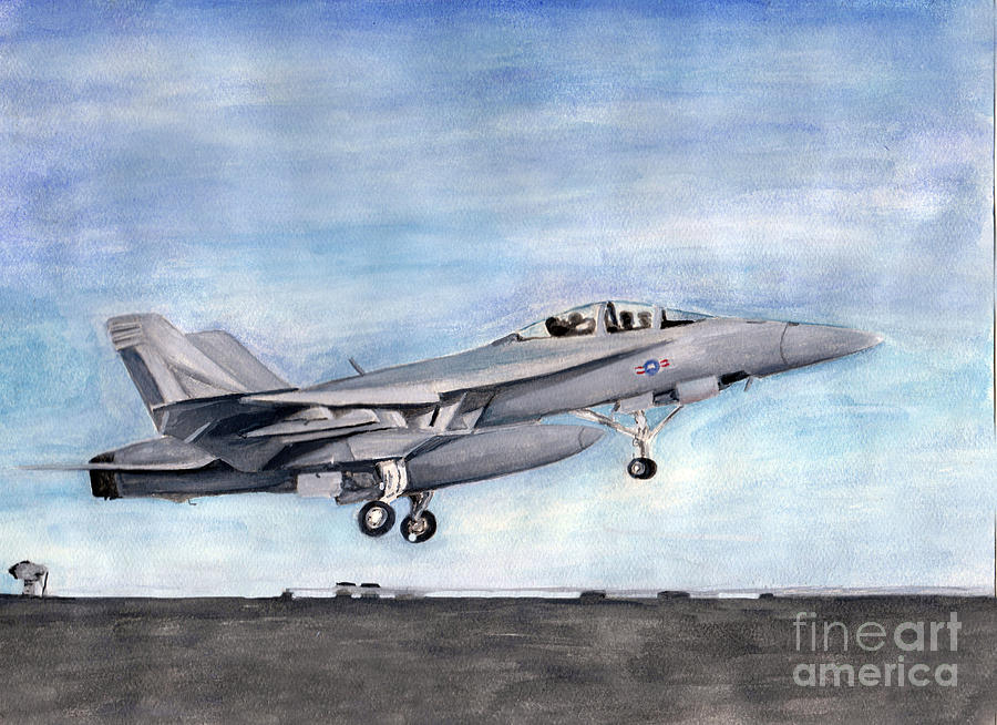 Super Hornet Painting - Superhornet by Sarah Howland-Ludwig