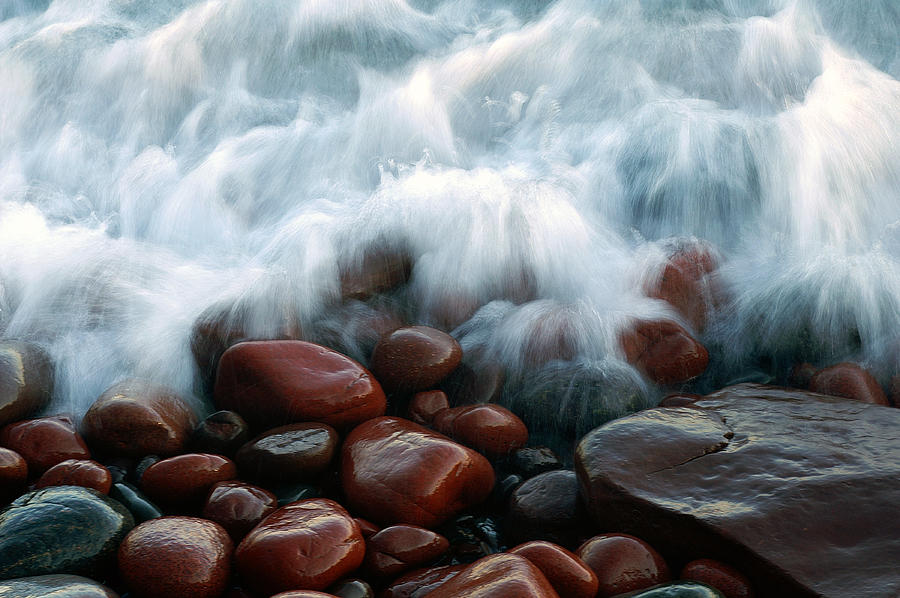 Lake Superior Photograph - Superior On The Rocks by Bill Morgenstern
