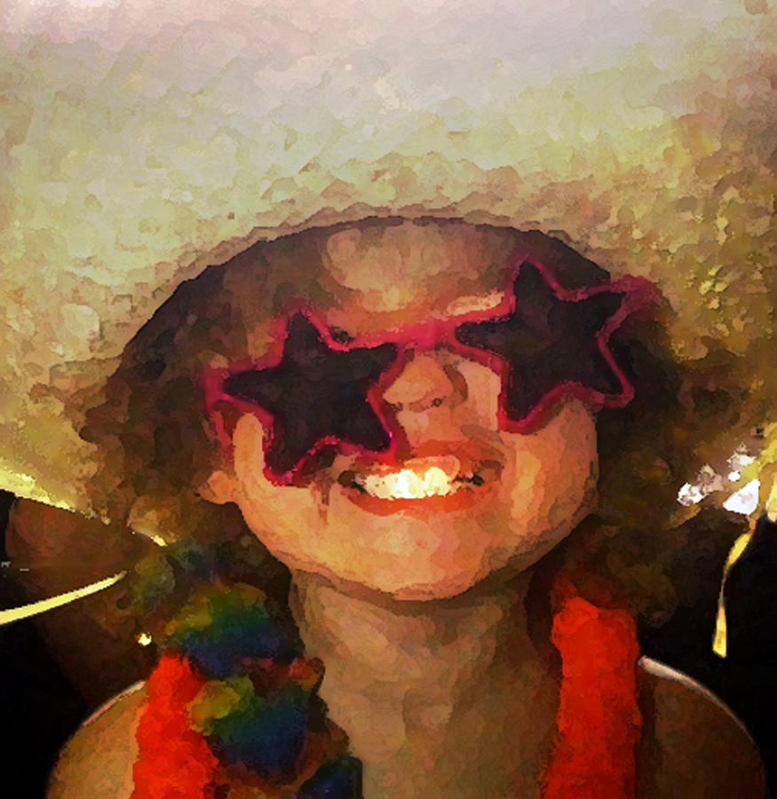 Photo Art; Photo Manipulation; Child Humor; Happy Girl Art; Happy Girl Canvas; Smiling Girl Art; Smiling Girl Canvas; Watercolor Child; Watercolor Photo;  Digital Art - Superstar by Gina Barkley