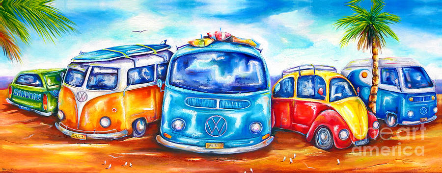 Surf Painting - Surf Wagons by Deb Broughton