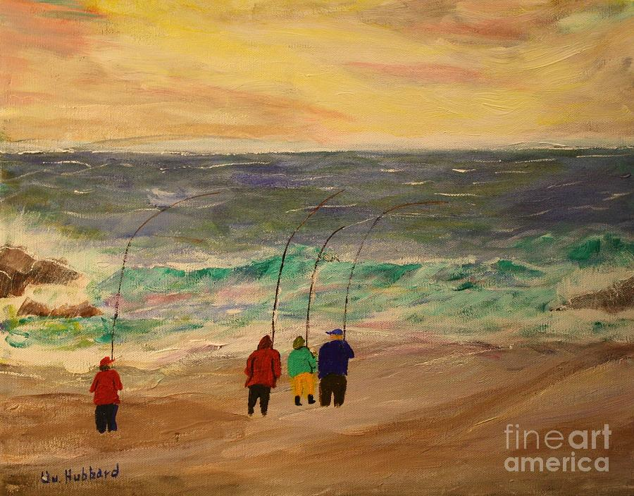 Saltwater Fishing Painting - Surfcasters At Sunrise by Bill Hubbard