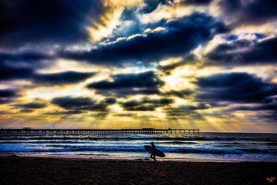 Rays Photograph - Surfer At Pacific Beach by Chris Lord