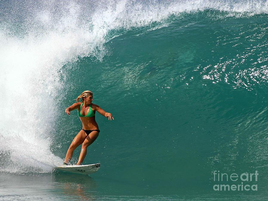 Ocean Photograph - Surfer Girl by Paul Topp