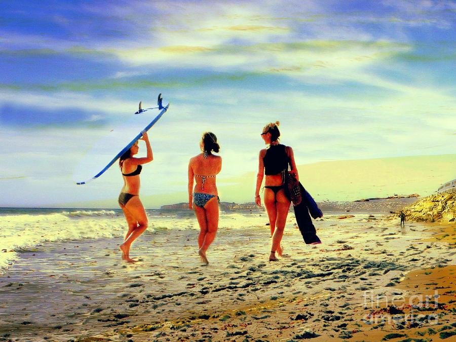 Surfer Girls Photograph - Surfer Girls  by Kevin Moore