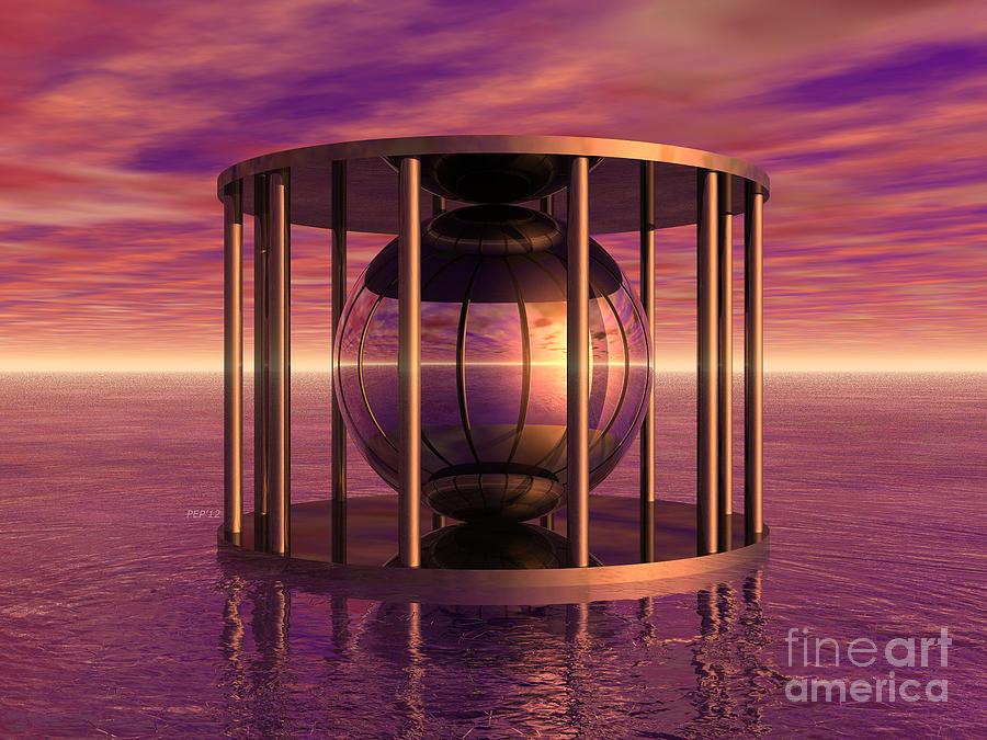 Surreal Digital Art - Metal Cage Floating In Water by Phil Perkins