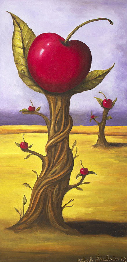 Surreal Cherry Trees Painting By Leah Saulnier The