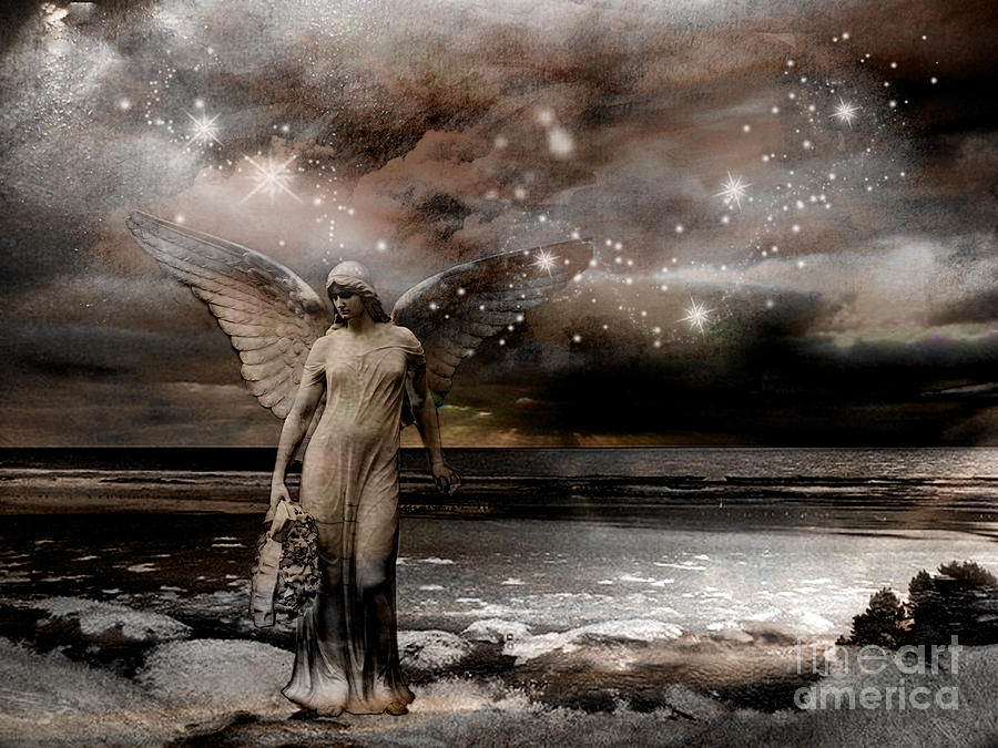 Angel Art By Kathy Fornal Photograph - Surreal Fantasy Celestial Angel With Stars by Kathy Fornal