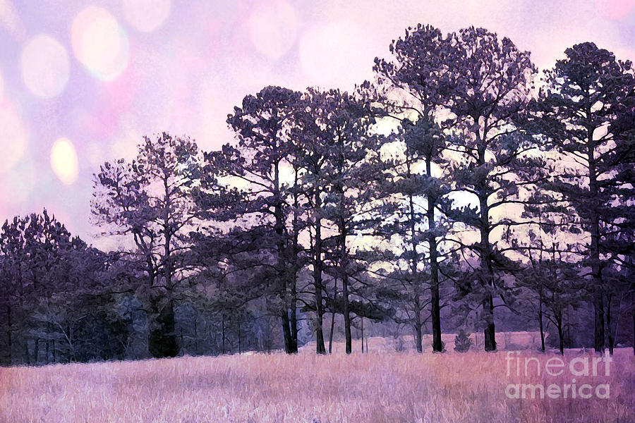 Fantasy Nature Photograph - Surreal Fantasy Nature Purple Trees Landscape by Kathy Fornal