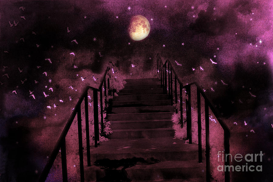 Surreal Fantasy Stairs Moon Birds Stars Photograph by