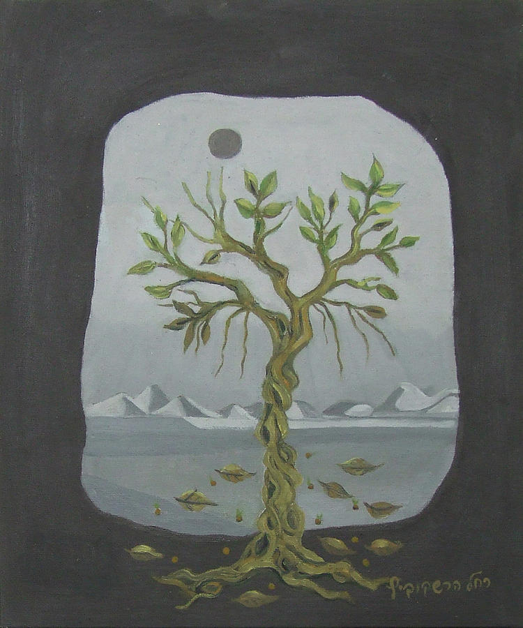 Surreal Painting - Surreal Landscape Framed  With Tree Falling Leaves Moon Mountain Sky   by Rachel Hershkovitz