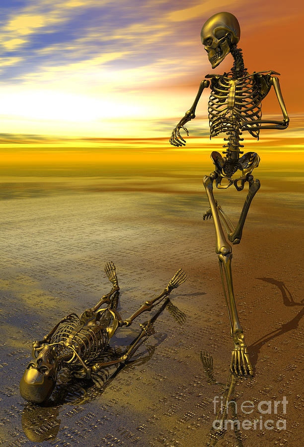 Surreal Digital Art - Surreal Skeleton Jogging Past Prone Skeleton With Sunset by Nicholas Burningham