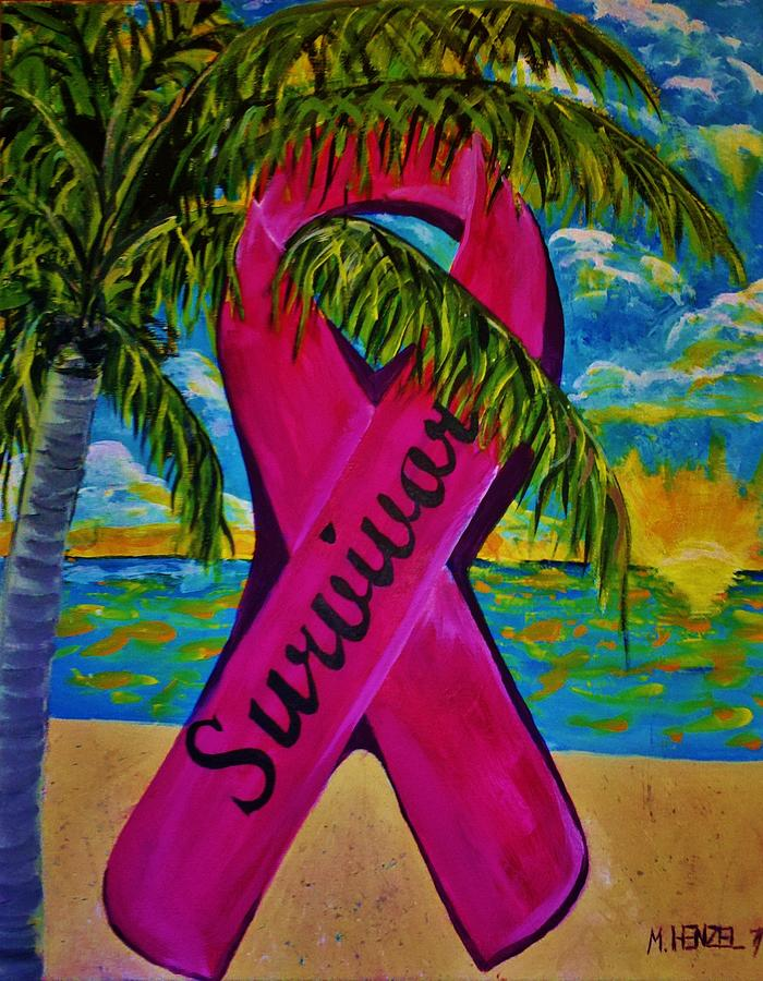 Breast Cancer Ribbon Painting - Survivor by Michael Henzel