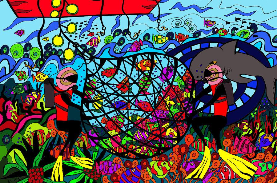 Fish Digital Art - Sustainability by Karen Elzinga