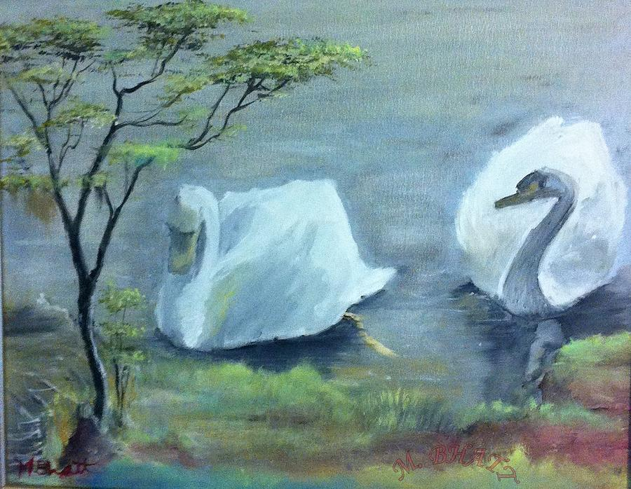 Nature Painting - Swan Couple by M Bhatt