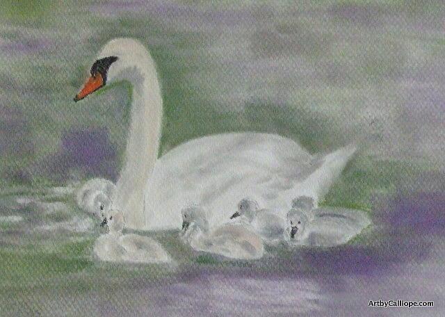 Swan Pastel - Swan Family by Calliope Thomas
