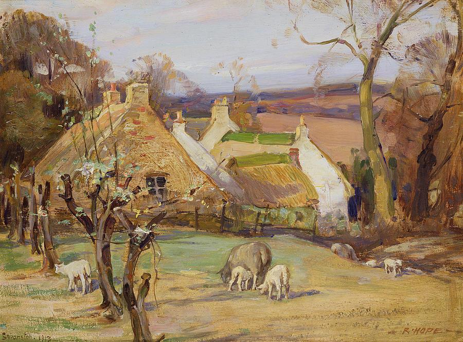 Sheep Painting - Swanston Farm by Robert Hope