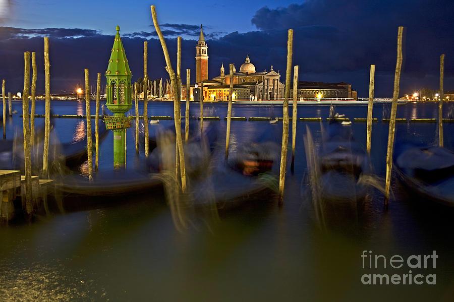 Venice Photograph - Swaying Gondolas by Heiko Koehrer-Wagner