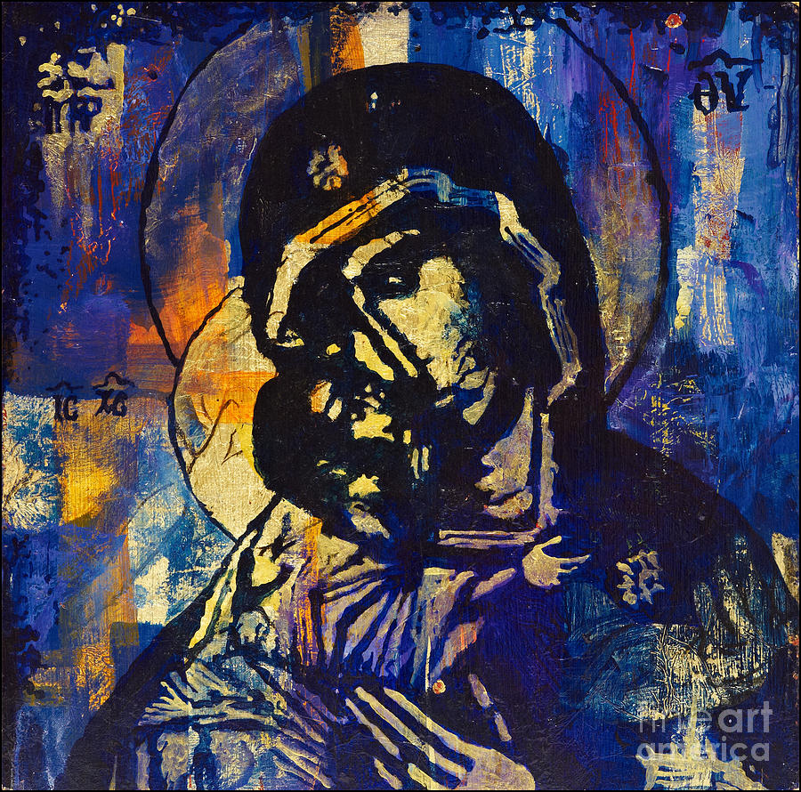 Panagia Painting - Sweet Kissing by Martina Anagnostou