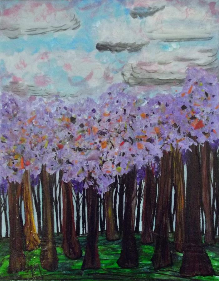 Purple Painting - Sweet Trees by Megan Ford-Miller