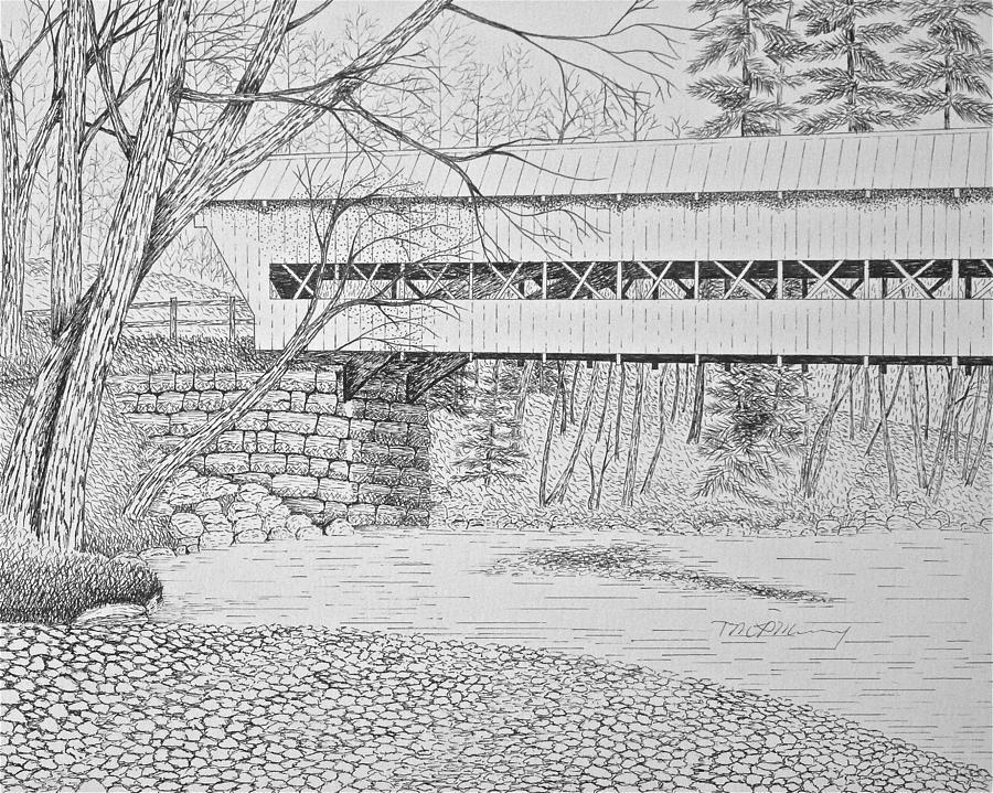 Landscape Drawing - Swift River Bridge by Tim Murray