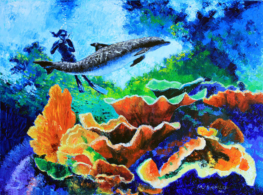 Dolphin Painting - Swimming With The Dolphins by John Lautermilch