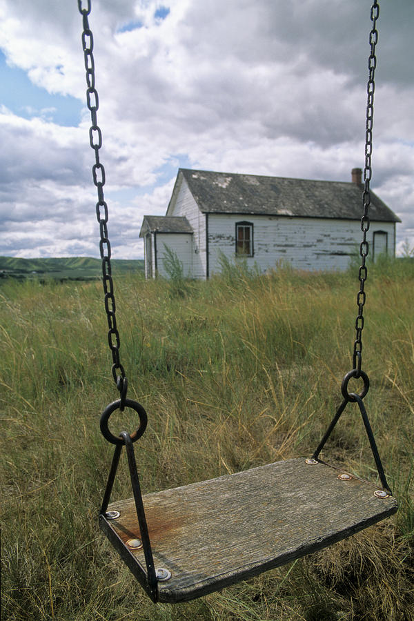 Cloud Photograph - Swing At Old School House, Quappelle by Dave Reede