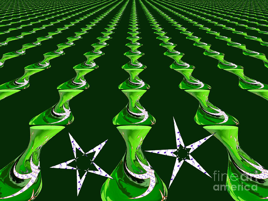 Green Digital Art - Swirly Green Links by Jeannie Atwater Jordan Allen