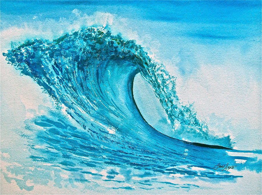 Wave Painting - Symphony In Blue Green by Frank SantAgata