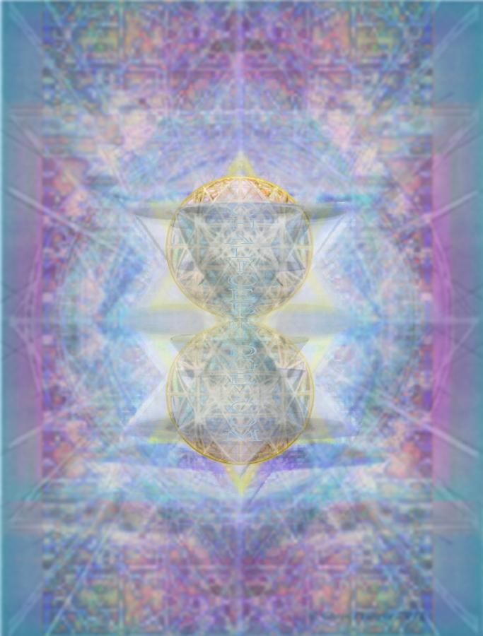 3d Digital Art - Synthecentered Doublestar Chalice In Blueaurayed Multivortexes On Tapestry by Christopher Pringer