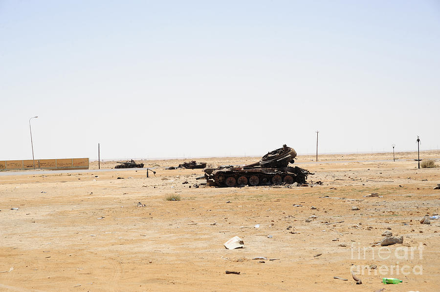 Libya Photograph - T-55 Tanks Destroyed By Nato Forces by Andrew Chittock