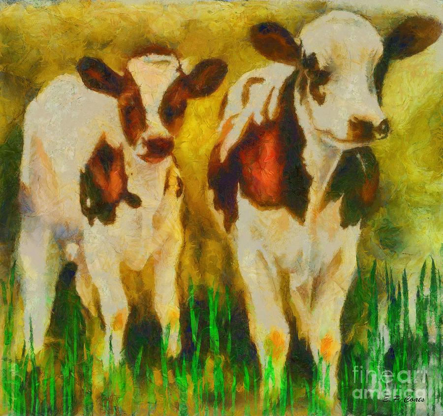 Cow Painting - T Bone And Ribeye by Elizabeth Coats