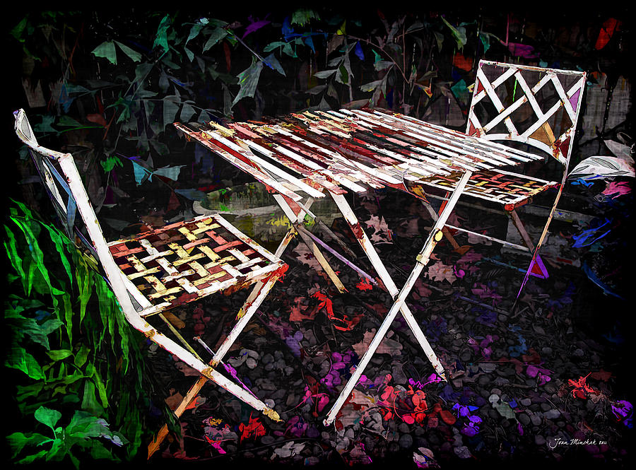 Botanical Photograph - Table And Chairs by Joan  Minchak