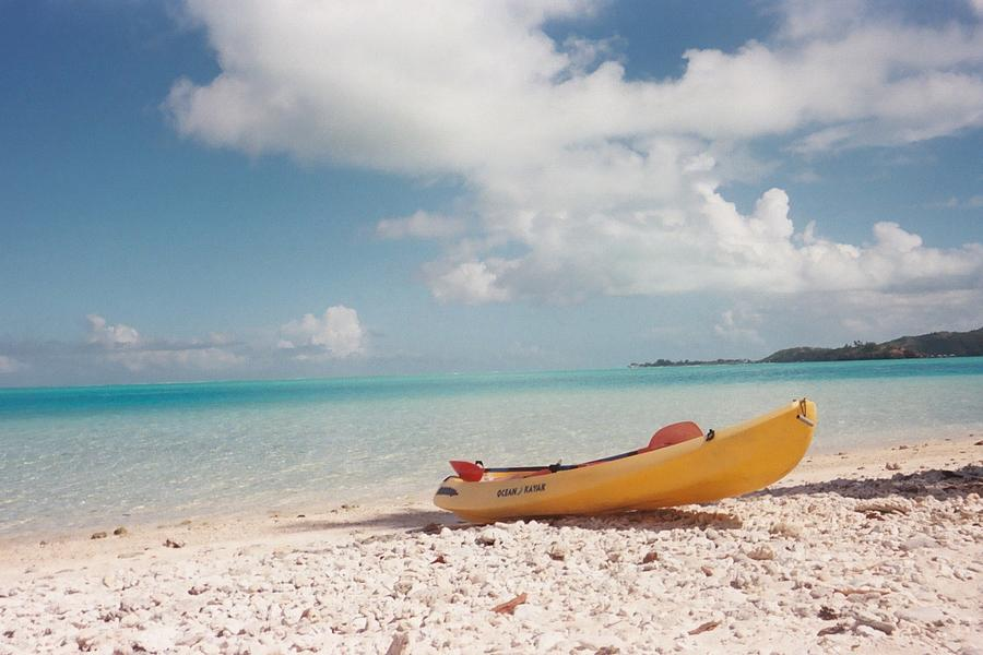 Tahiti Photograph - Tahiti Ocean Kayak On Beach by Mark Norman
