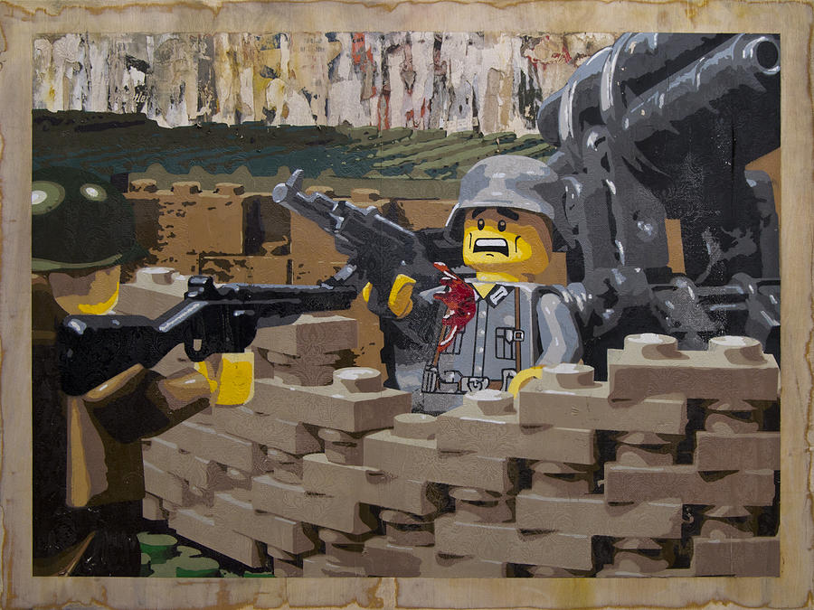 Lego Painting - Taking The Bunker by Josh Bernstein