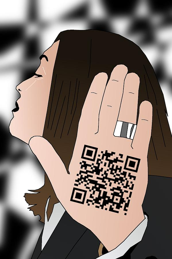 Qr Code Drawing - Talk To The Hand cause The Qr Code Understands by Casino Artist