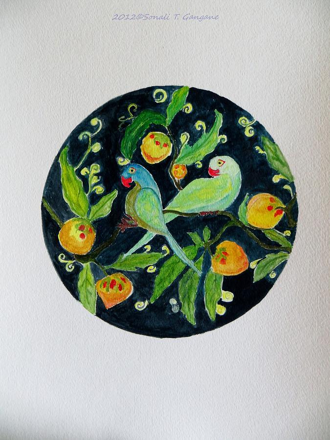 Talkative Parrots Painting - Talkative Parakeets by Sonali Gangane
