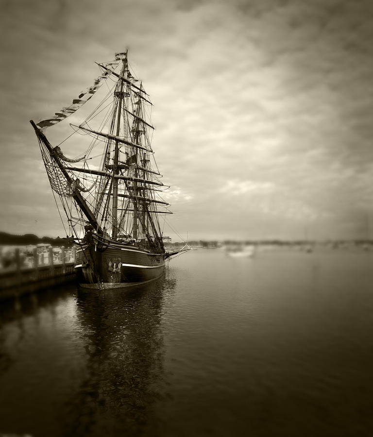 Boat Photograph - Tall Ship In Newport by Stephen EIS