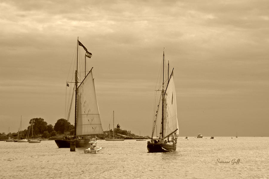 Tall Ships Photograph - Tall Ships Sailing In Sepia by Suzanne Gaff