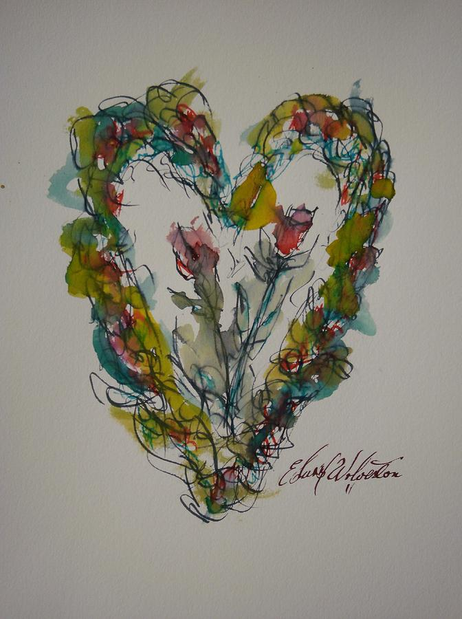 Hearts On Fire Painting - Tall Tell Heart In Love by Edward Wolverton