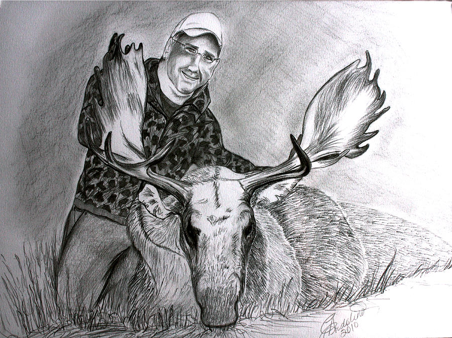Tamed Moose Drawing by Carolyn Ardolino