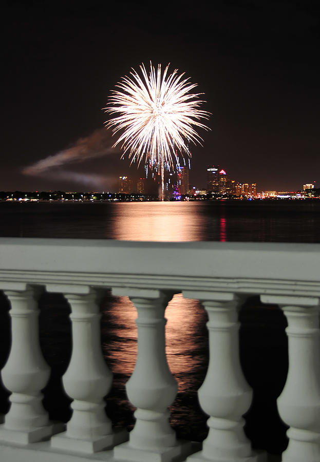 Fireworks Photograph - Tampa Bay Fireworks by David Lee Thompson