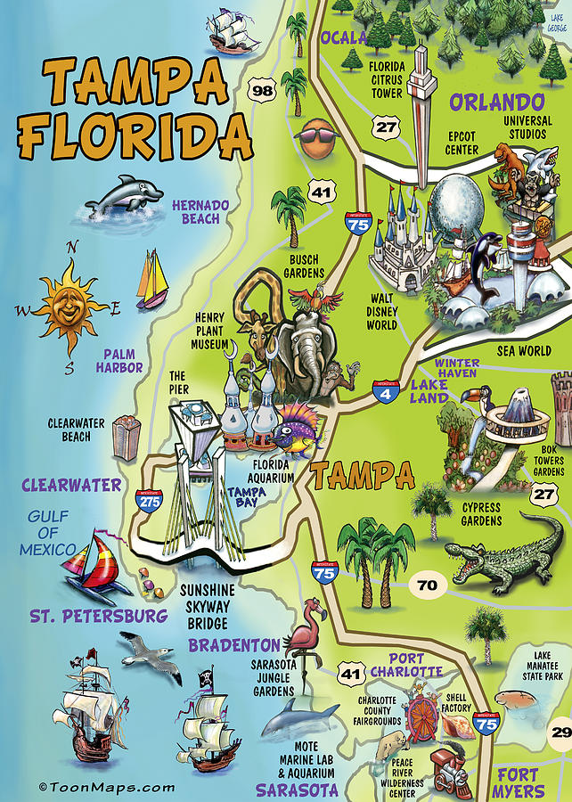 Tampa Florida On Map.Tampa Florida Cartoon Map Painting By Kevin Middleton