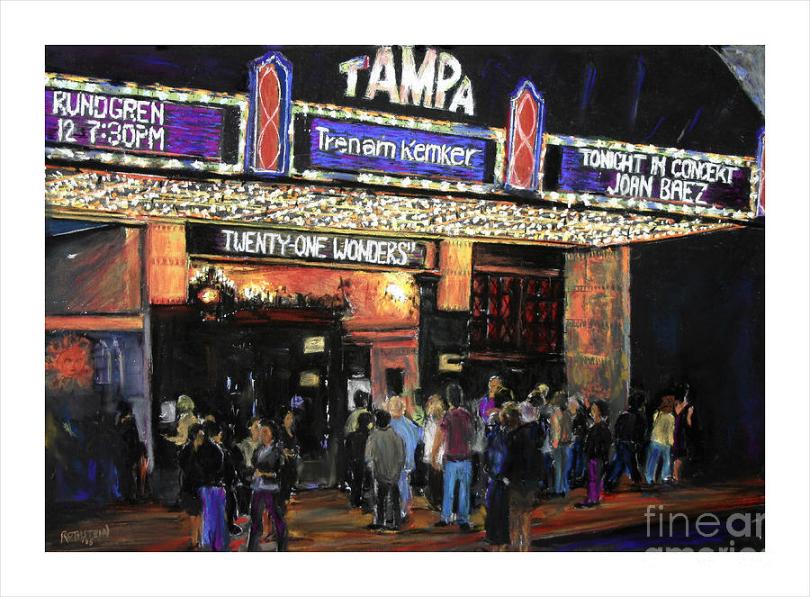 Tampa Pastel - Tampa Theatre Night Lights by Barry Rothstein