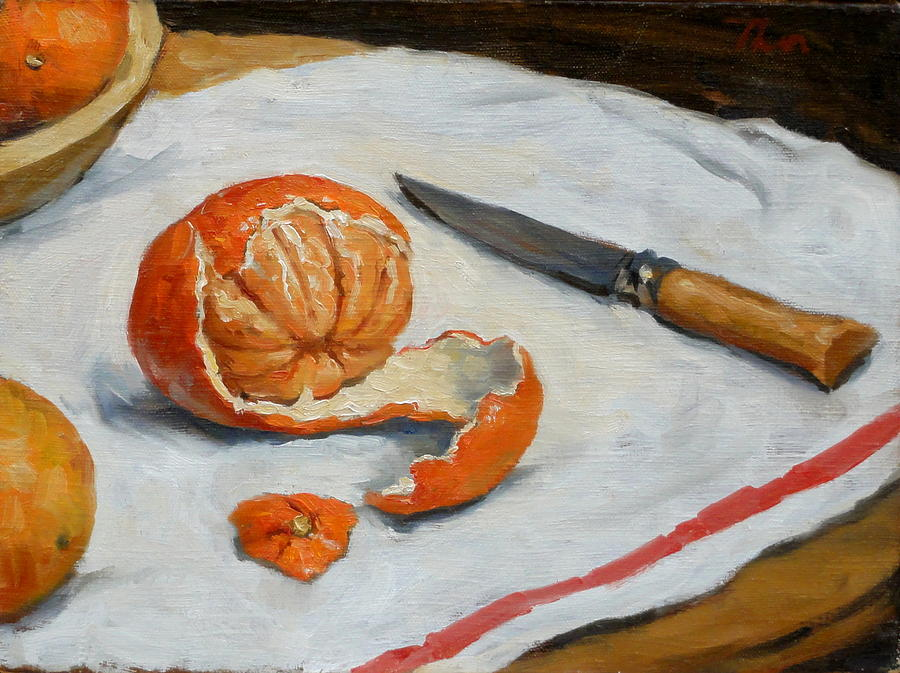 Still Painting - Tangerine And Knife by Thor Wickstrom